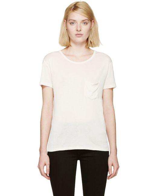 Saint laurent ivory silk pocket t shirt in white ivory for Silk white t shirt