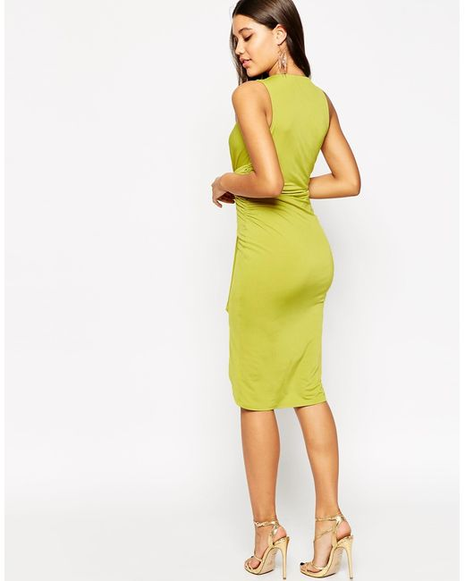 Asos Deep Plunge Twist Midi Dress In Green Lime Save