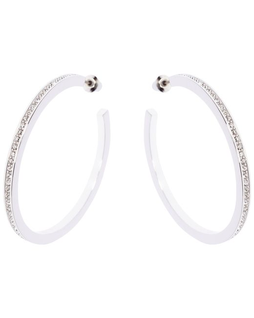 Karen Millen | Metallic Encrusted Large Hoop Earrings | Lyst