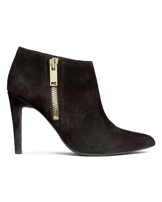h m suede ankle boots in black lyst