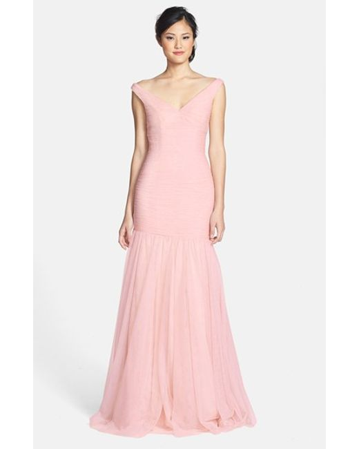 Monique lhuillier bridesmaids v neck shirred tulle trumpet for Monique lhuillier pink wedding dress