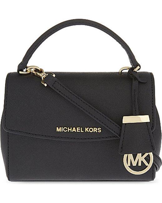 MICHAEL Michael Kors | Black Ava Extra Small Saffiano Leather Cross Body Bag | Lyst