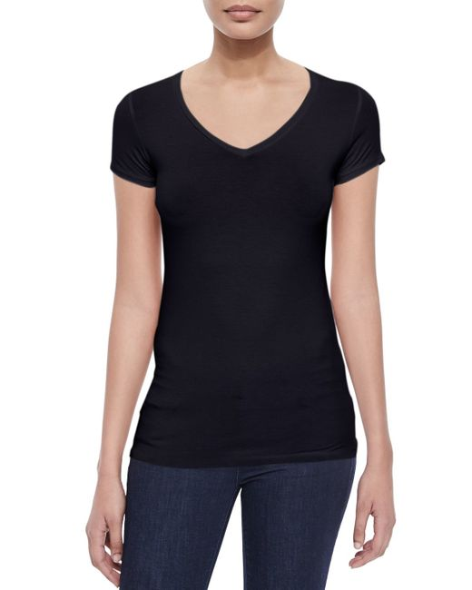 Neiman Marcus | Blue Soft Touch Short-sleeve V-neck Tee | Lyst