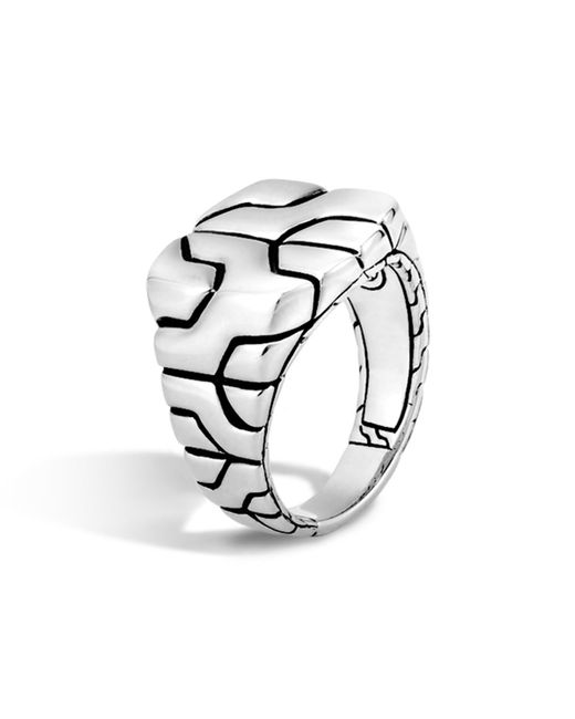 John Hardy | Metallic Woven Silver Chain Square Ring | Lyst
