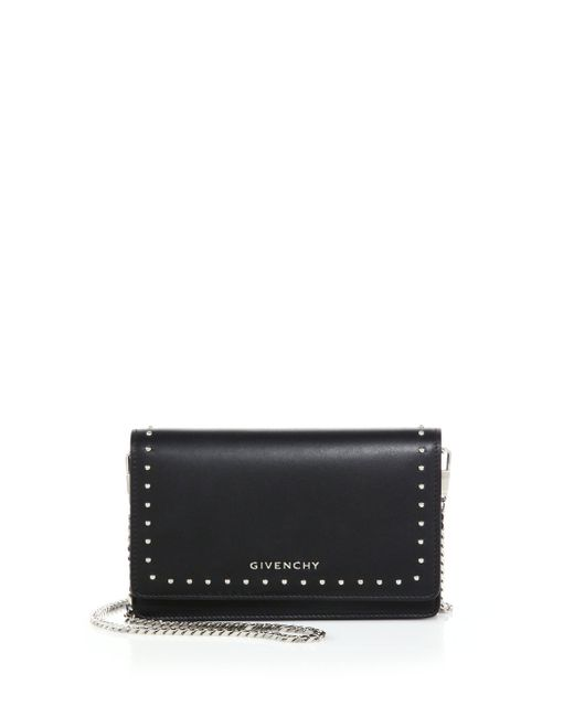 Givenchy | Black Pandora Studded Leather Chain Wallet | Lyst