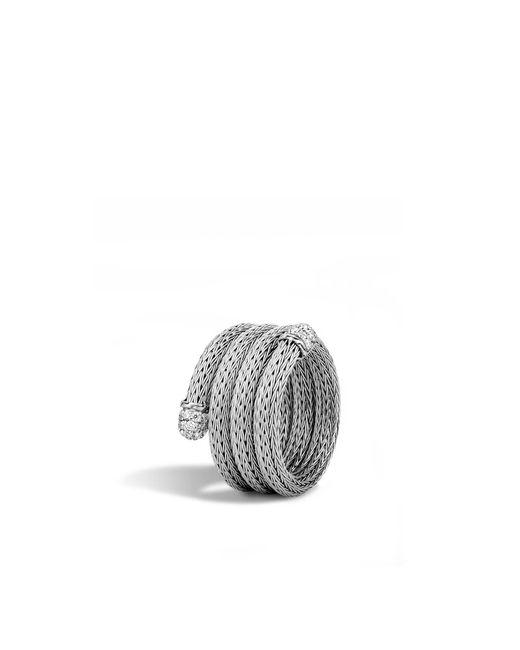 John Hardy   Metallic Classic Chain Coil Ring With Diamonds   Lyst