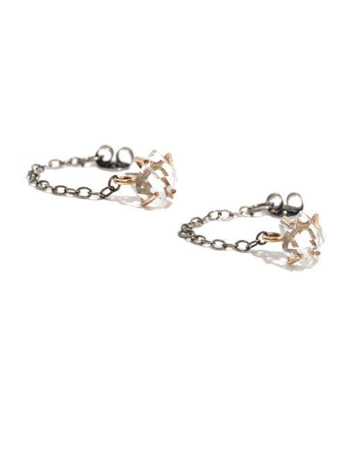 Melissa Joy Manning | Metallic Herkimer Post Earrings With Chain Wrap | Lyst