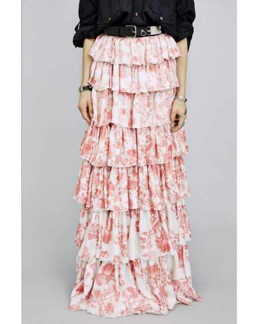 Faith connexion Long Printed Ruffled Skirt in Pink (white-printed) | Lyst