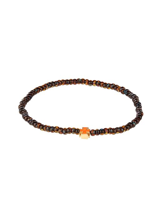 Luis Morais | Orange Bead, Enamel And Yellow-Gold Bracelet for Men | Lyst