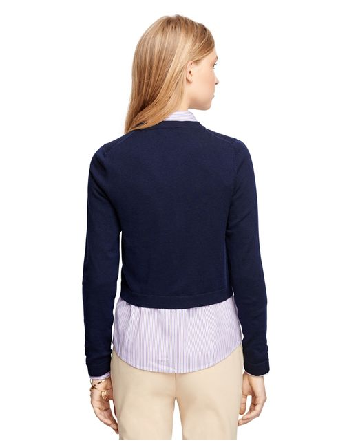 Brooks Brothers | Blue Merino Wool Cropped Cardigan | Lyst