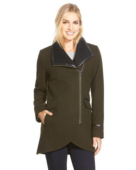 Trina Turk | Green 'mackenzie' Asymmetric Zip Leather Trim Coat | Lyst