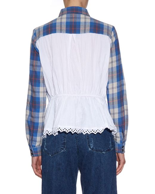 Sea Contrast Back Plaid Flannel Shirt In Blue Lyst