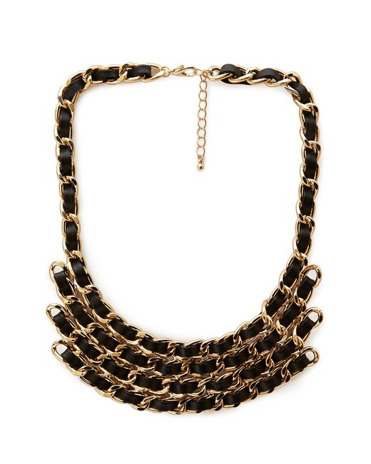 Forever 21 | Black On The Edge Woven Bib Necklace | Lyst