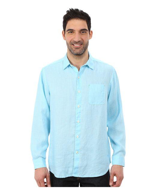 Tommy bahama sea glass breezer long sleeve shirt in blue for Tommy bahama long sleeve dress shirts