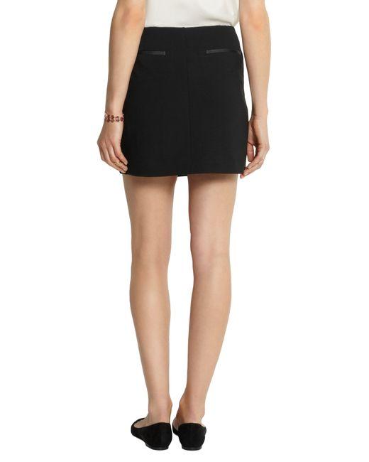 theory stilla leather and stretch jersey wrap mini skirt