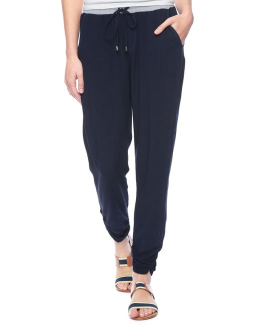 Splendid | Blue Rouched Leg Trouser | Lyst