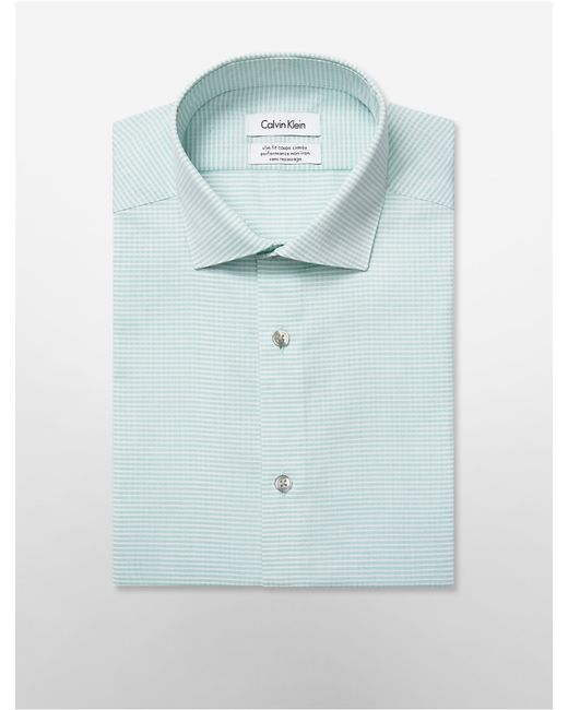 Calvin klein white label steel slim fit non iron green for Calvin klein athletic fit dress shirt