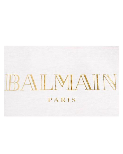 Balmain logo printed cotton t shirt in white white gold for Balmain white logo t shirt