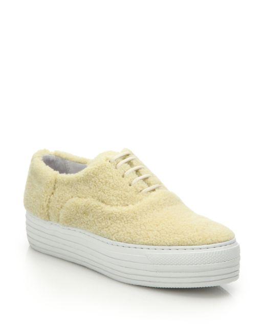 Joshua Sanders | Natural Shearling Low-Top Platform Sneakers | Lyst