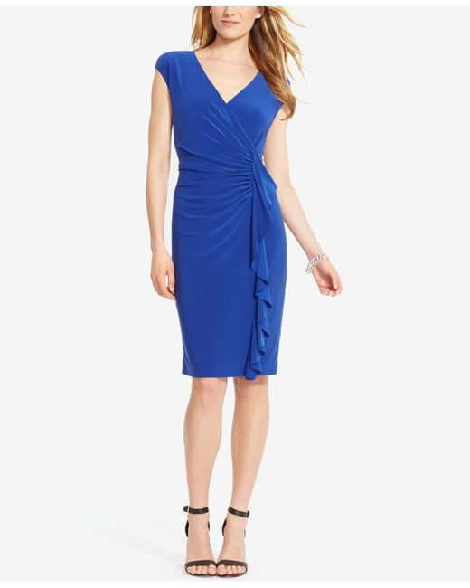 American Living Cap Sleeve Ruffled Dress In Blue Save 14