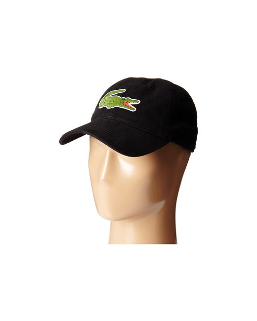 Lacoste | Black Big Croc Gabardine Cap for Men | Lyst