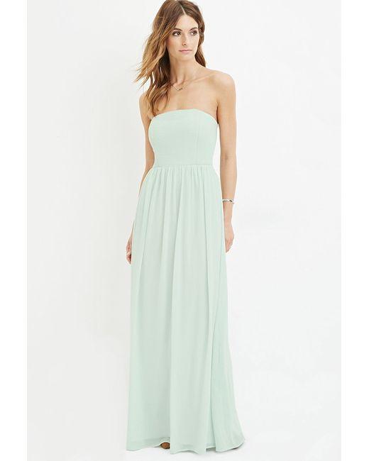 Forever 21 | Blue Strapless Chiffon Maxi Dress | Lyst