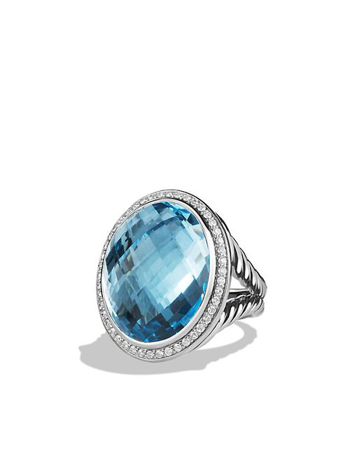 David Yurman | Oval Ring With Blue Topaz And Diamonds | Lyst