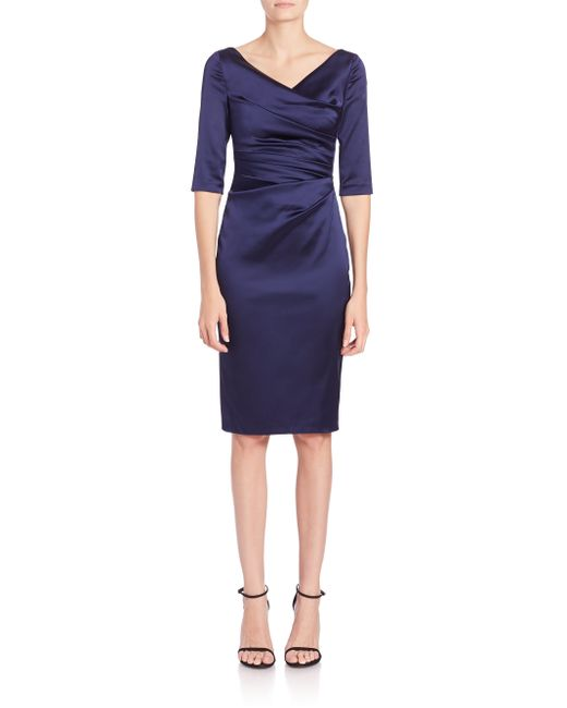 Talbot Runhof | Blue Ruched Satin Sheath | Lyst