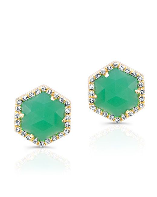 Anne Sisteron | Green 14kt Yellow Gold Chrysoprase Diamond Hexagon Stud Earrings | Lyst