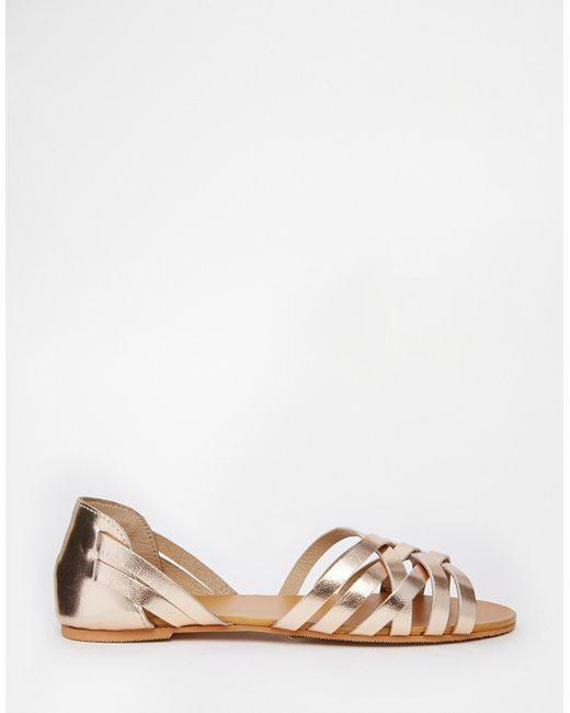 asos jinny leather summer shoes in gold lyst
