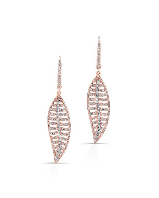 Anne Sisteron | Pink 14kt Rose Gold Diamond Mini Feather Earrings | Lyst