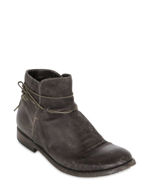 shoto washed leather ankle boots in gray for grey lyst