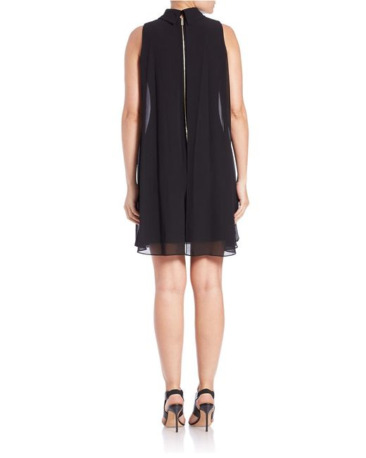 Vince Camuto | Black Trapeze Cocktail Dress | Lyst