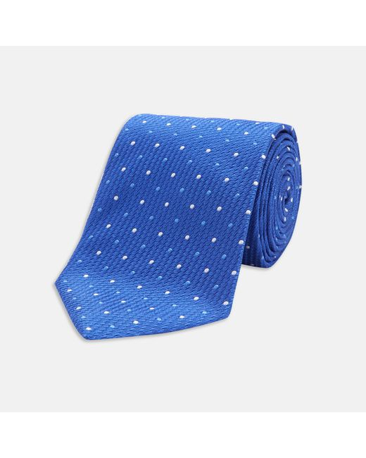 turnbull asser royal blue and white spot lace silk tie