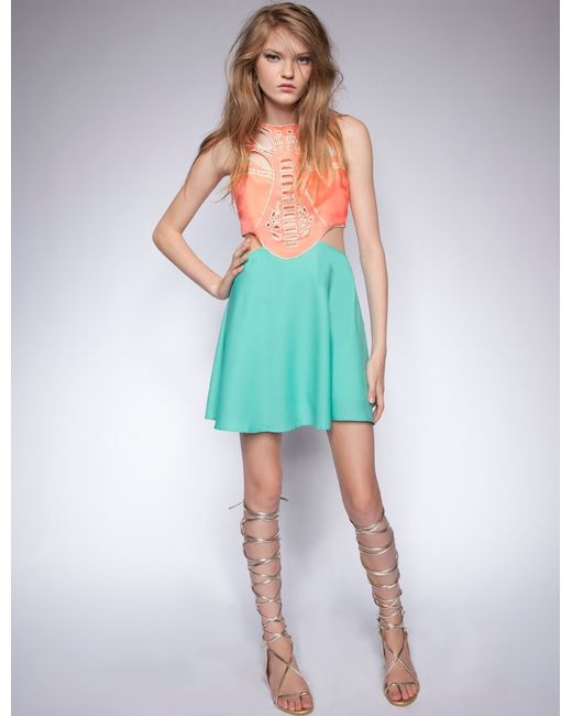 Pixie Market Coral And Teal Cutout Dress In Pink (coral