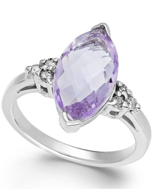 Macy's | Metallic Pink Amethyst (3 Ct. T.w.) And Diamond (1/8 Ct. T.w.) Ring In 14k White Gold | Lyst