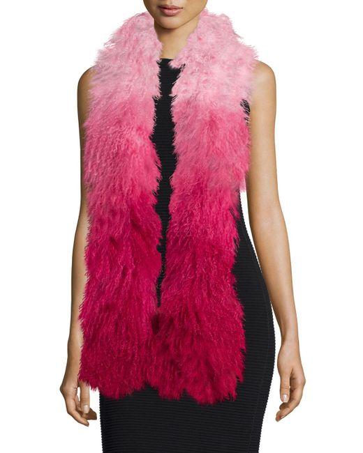 Charlotte Simone | Pink Shaggy Fur Gradient Stole | Lyst