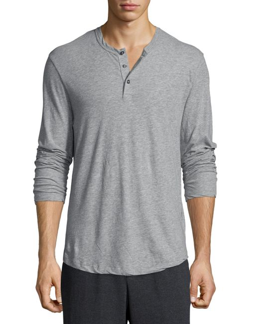 James perse long sleeve knit henley shirt in gray for men for Long sleeve henley shirts for men