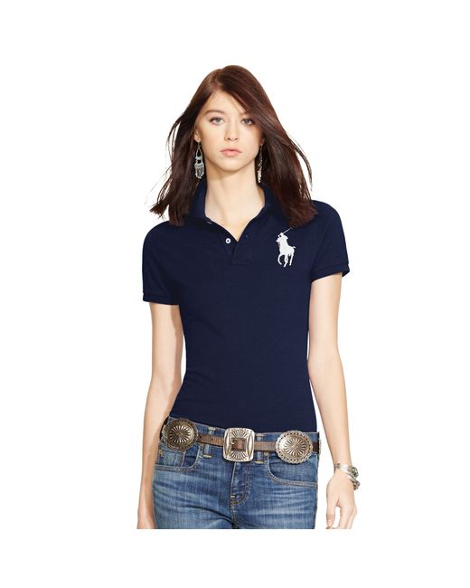 Polo Ralph Lauren | Blue Skinny Stretch Polo Shirt | Lyst