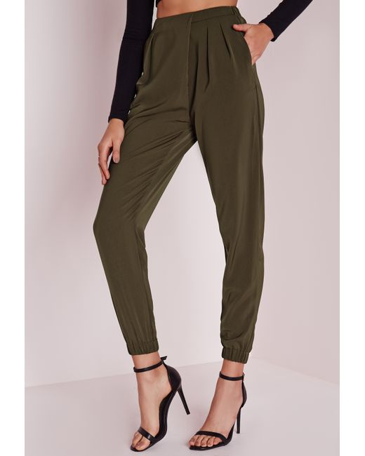 New Topshop Formal Satin Joggers In Black  Lyst