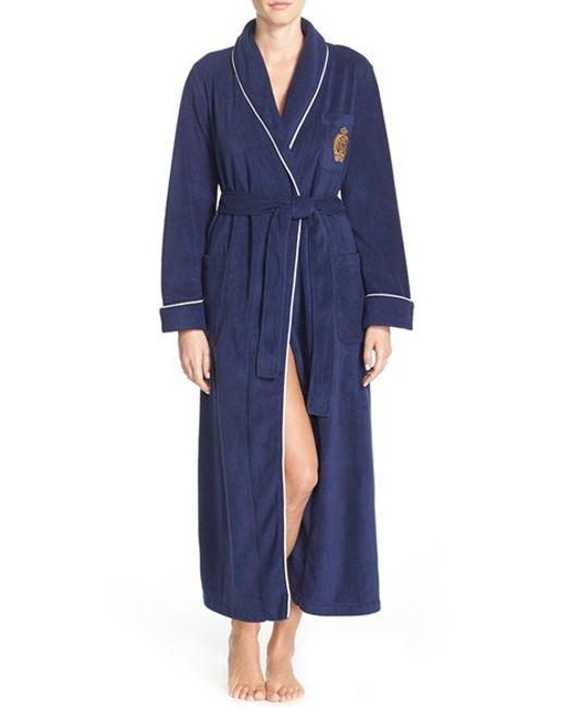 Lauren by Ralph Lauren   Blue Fleece Robe   Lyst