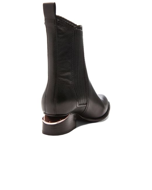 alexander wang anouck leather rosegold cutout ankle boots in black save 40 lyst. Black Bedroom Furniture Sets. Home Design Ideas
