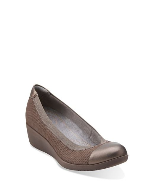 Clarks | Brown 'petula Sadie' Cap Toe Wedge | Lyst