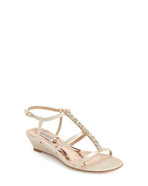 badgley mischka carley embellished wedge sandals in white