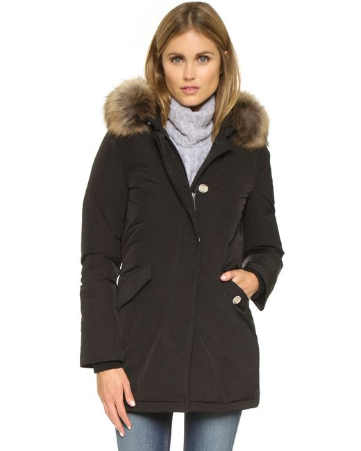 Woolrich | Black Down Coat With Fur-trimmed Hood | Lyst