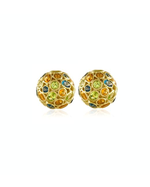 Emily & Ashley | Metallic 18k Gold and Sapphire Dome Earrings | Lyst
