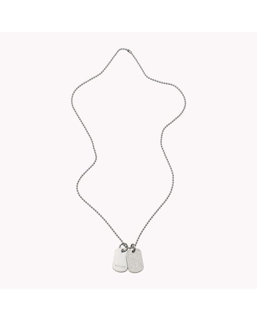 Tommy Hilfiger | Metallic Crystal Dog Tag Necklace | Lyst