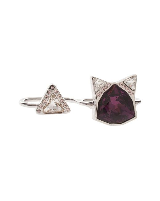 Ca&Lou | Purple Silver Shade&crystal Kat Ring | Lyst