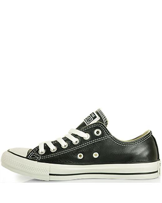 converse leather sneaker in black lyst