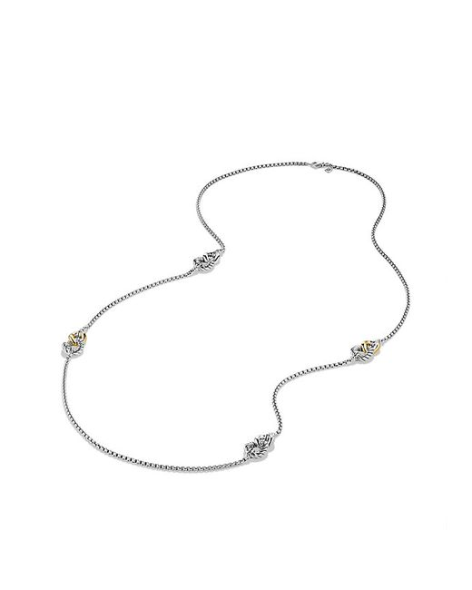 David Yurman | Metallic Belmont Curb Link Four Station Chain Necklace With 18k Gold | Lyst